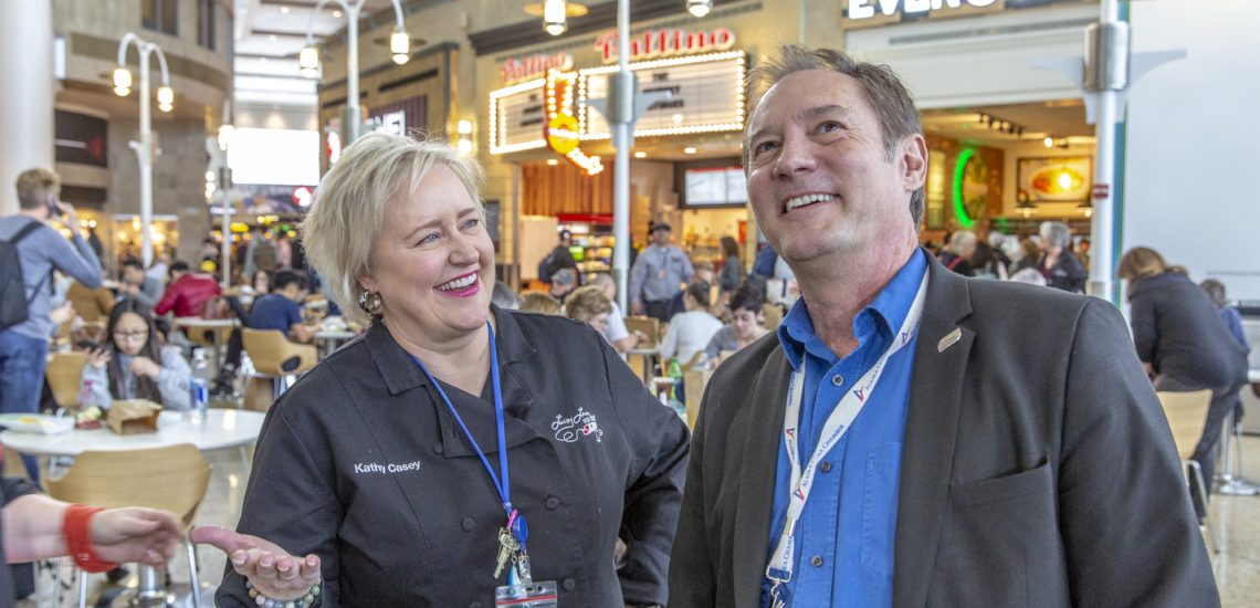 Peter Steinbrueck and Kathy Casey at he opening of the south side of the Central Terminal, 29 March 2019.